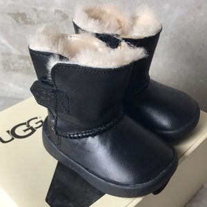 Ugg baby black leather boots